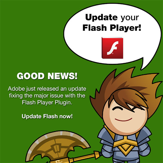 update flash player to fix zero day exploit