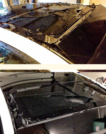 Shattered sunroof on Beleen's Scion tc