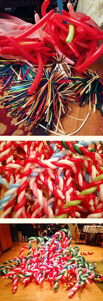 Beleen Balloon animal candy cane making