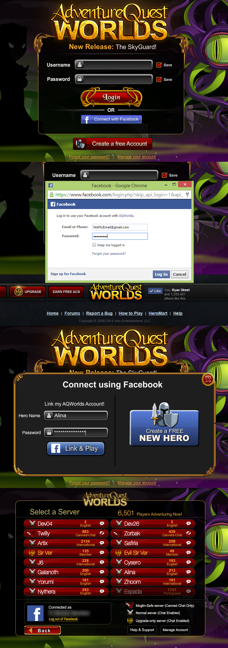 Log Into AQW with One Click