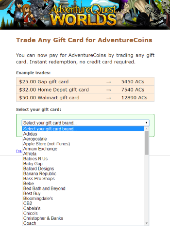 Redeem retail gift cards for ACs