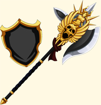 Gilded Entourage polearm and shield