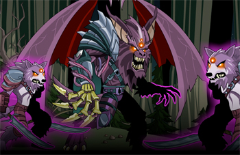 Chaos Lord Wolfwing and Crew in online adventure game AdventureQuest Worlds